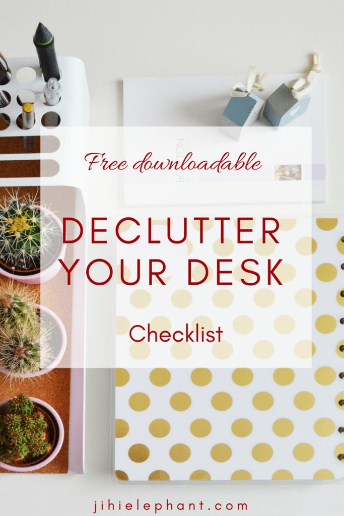 """Your new year's resolution was to """"get organized"""" but you just can't seem to. I have just the cure! Here are 6 ways to declutteryour desk space."""