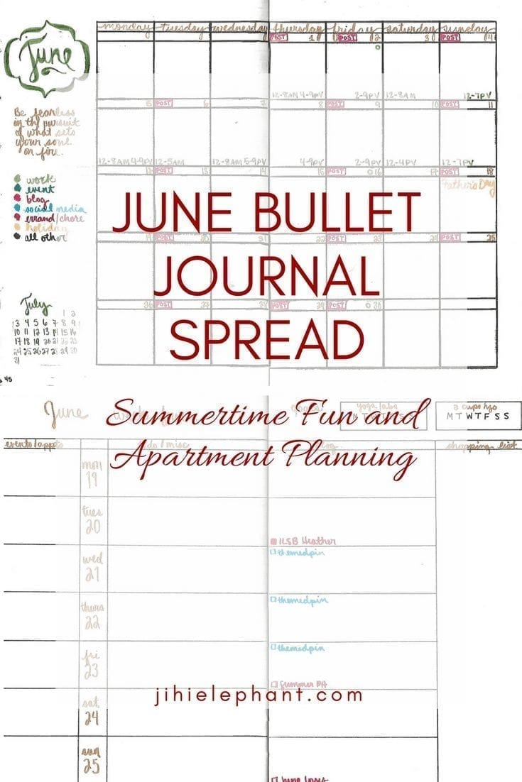 Summertime Fun and Apartment Planning: June 2017 Bullet Journal Spread