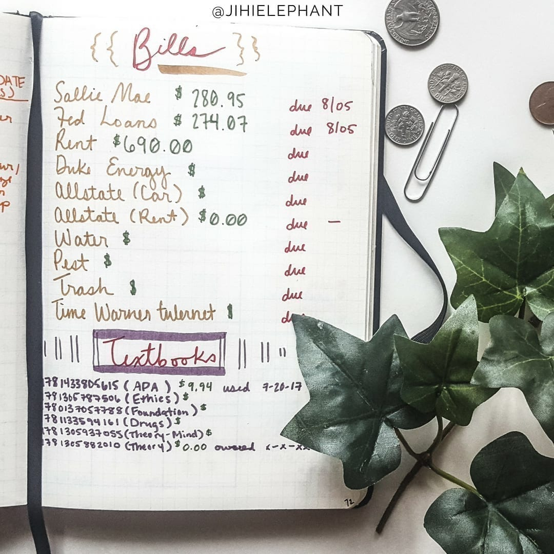 bullet journal, bills, bill tracking, finances, subscriptions, debt, saving
