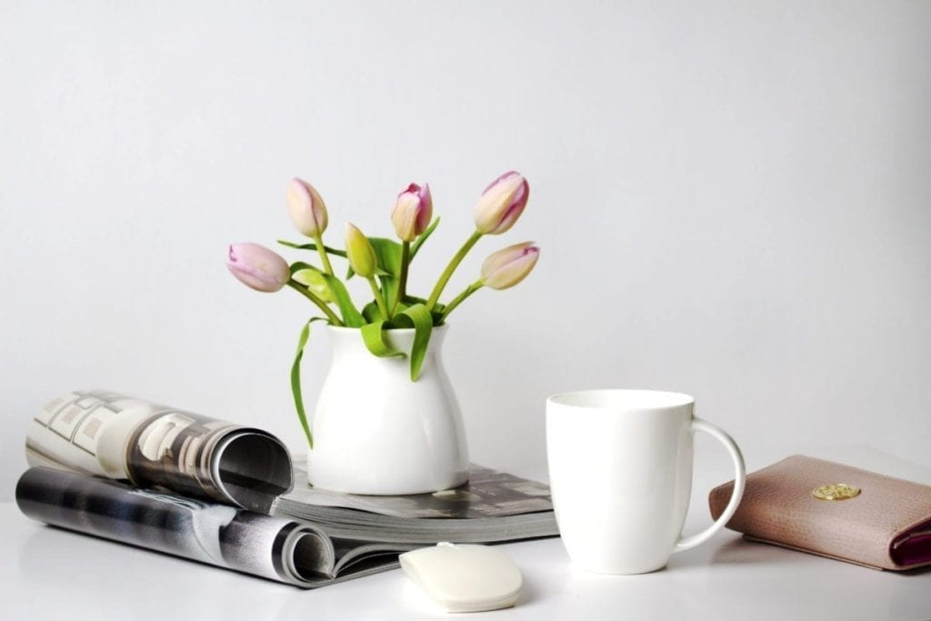 tulip, flowers, mug, magazine; create own self-care challenge