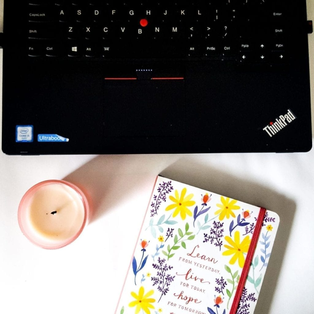 laptop notebook candle