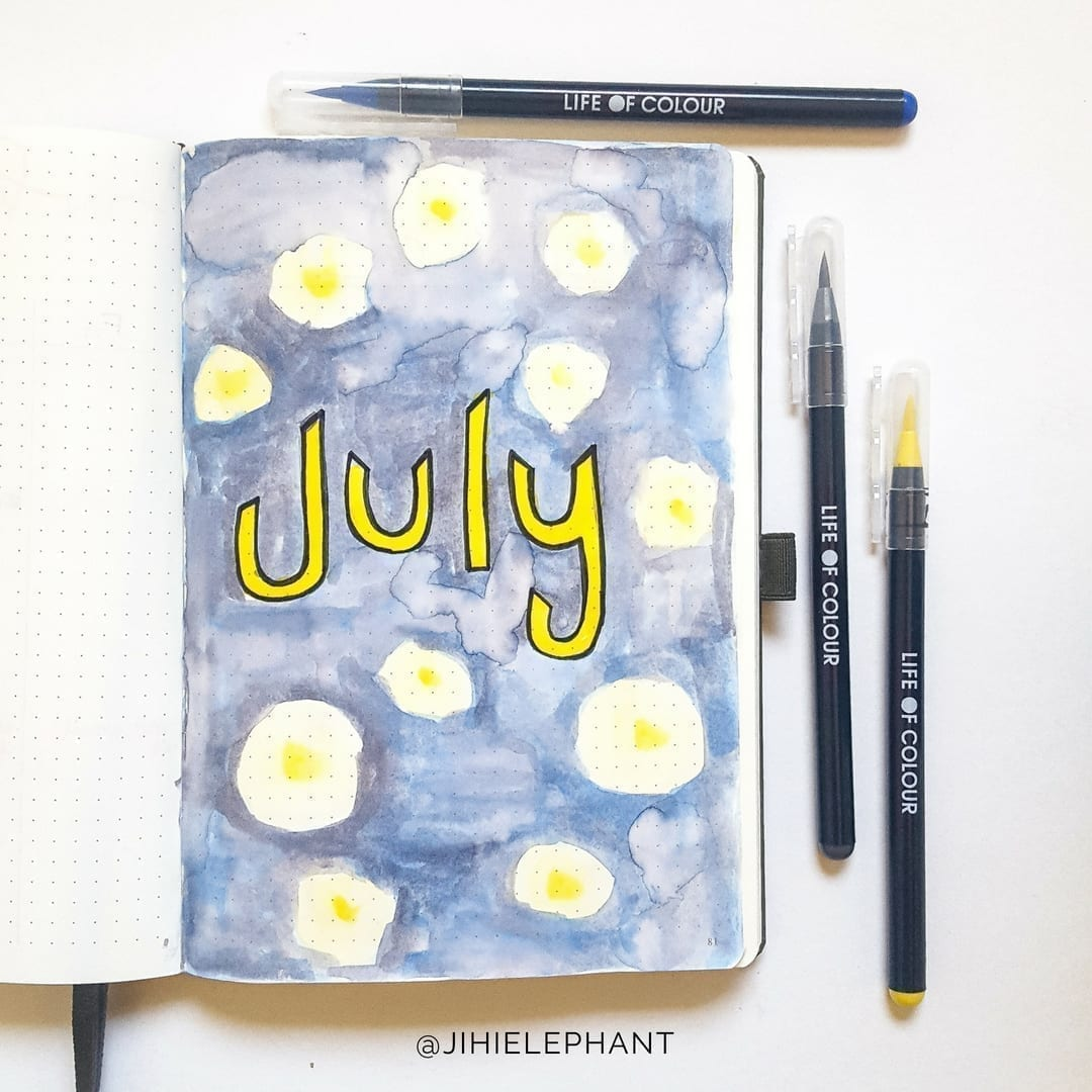 July Bullet Journal Plan-With-Me | Introduction to Life of Colour Watercolor Brush Pens