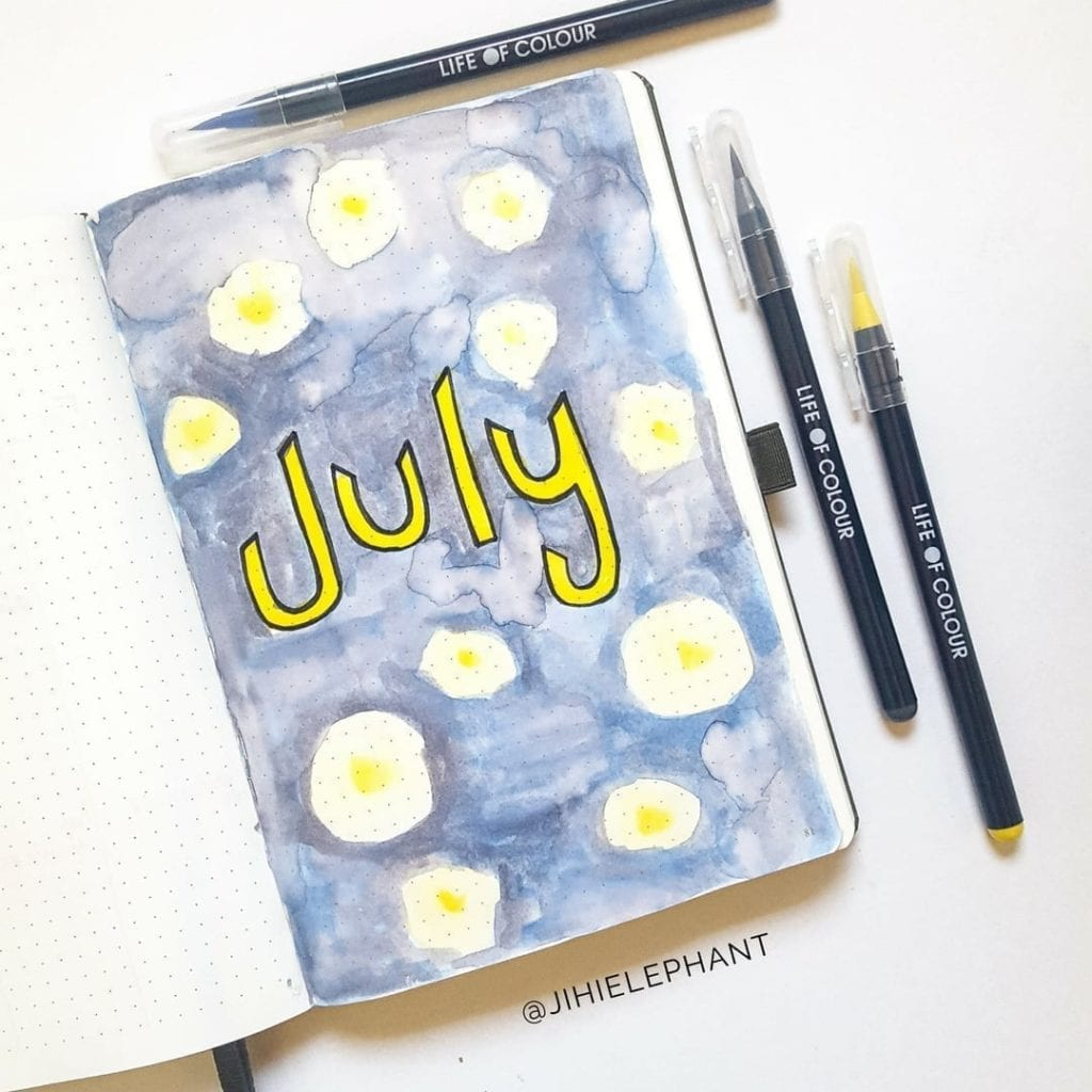 July Bullet Journal Plan-With-Me   Introduction to Life of Colour Watercolor Brush Pens