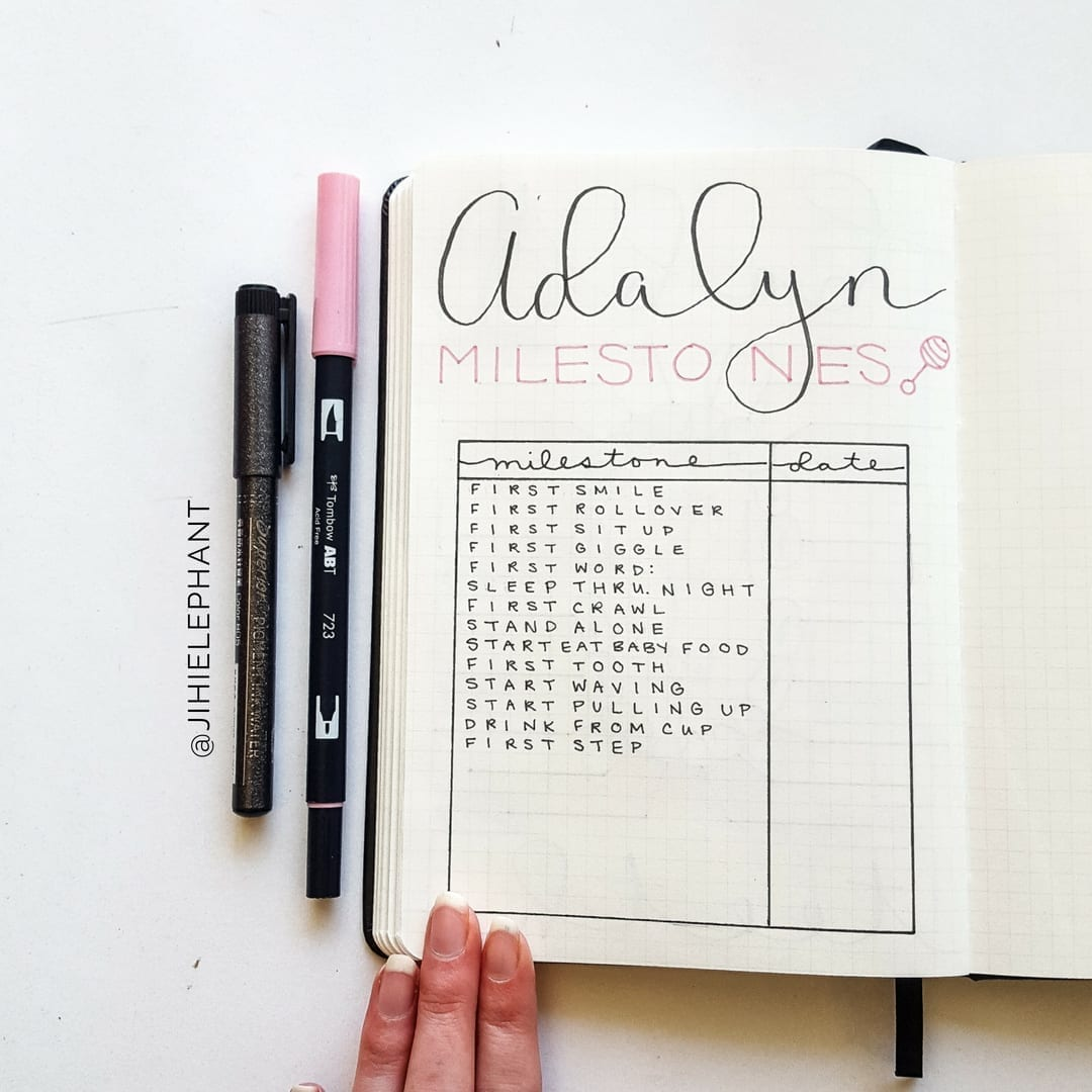 Shay's Pink and Gray Baby Bullet Journal | Elizabeth Journals