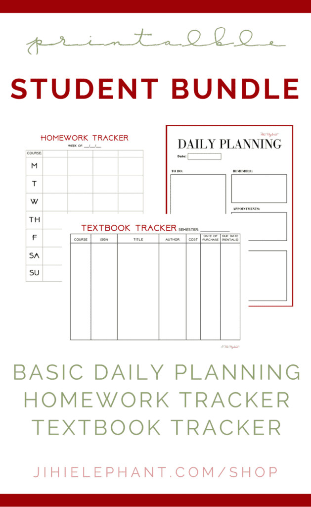 STUDENT PACKAGE | Daily Planning, Homework Tracker, & Textbook Tracker Printable Planner Pages