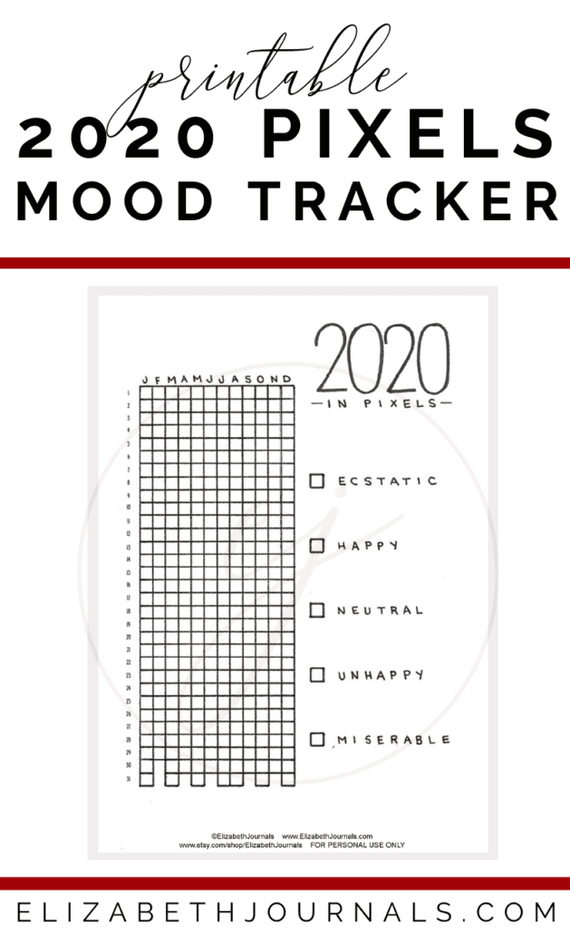 Looking for a simple way to keep track of your moods in the new year? The 2020 in pixels layouts is perfect. This mood tracker includes 2020 in grid form organized by month.