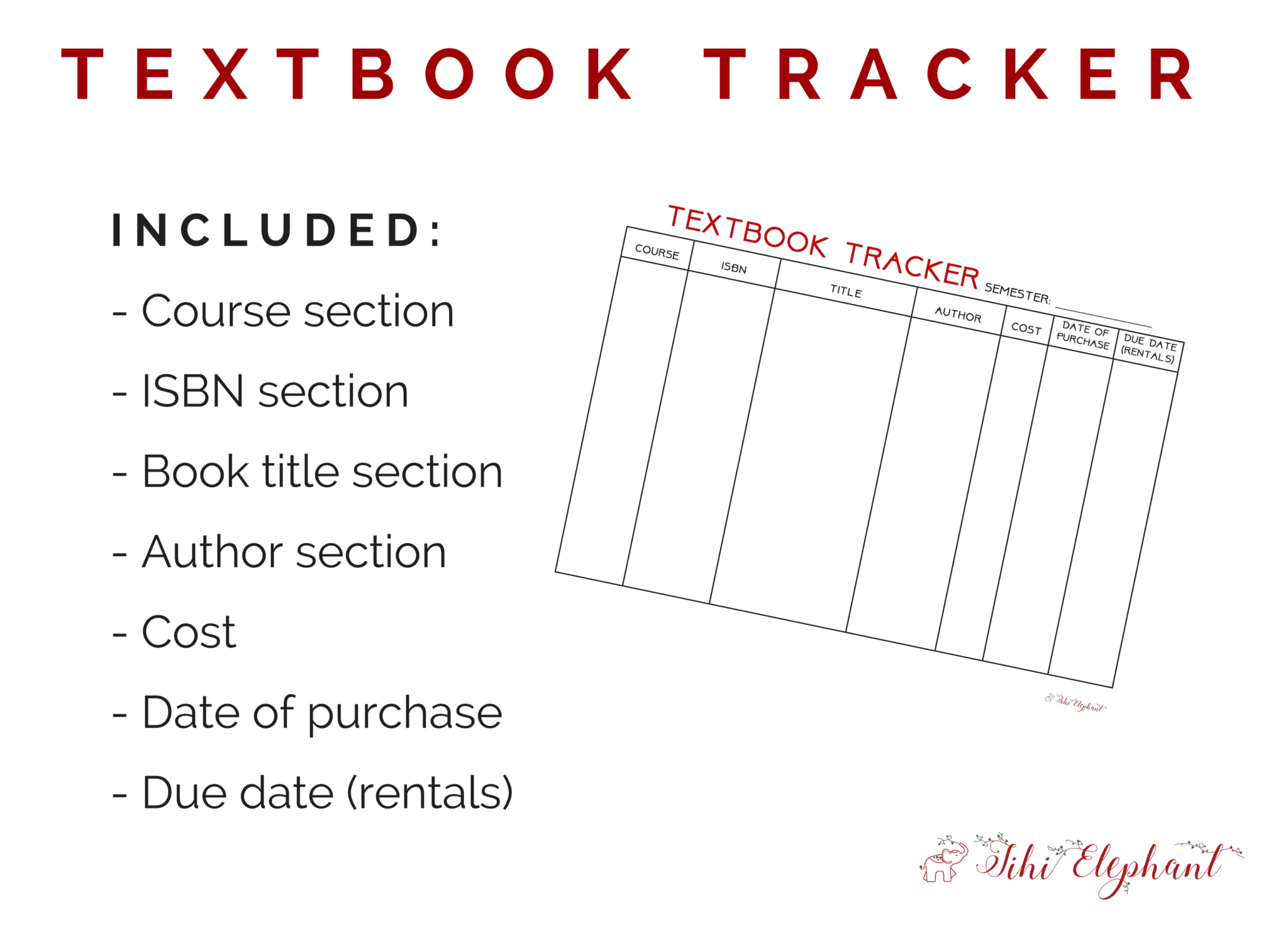 printable textbook tracker page