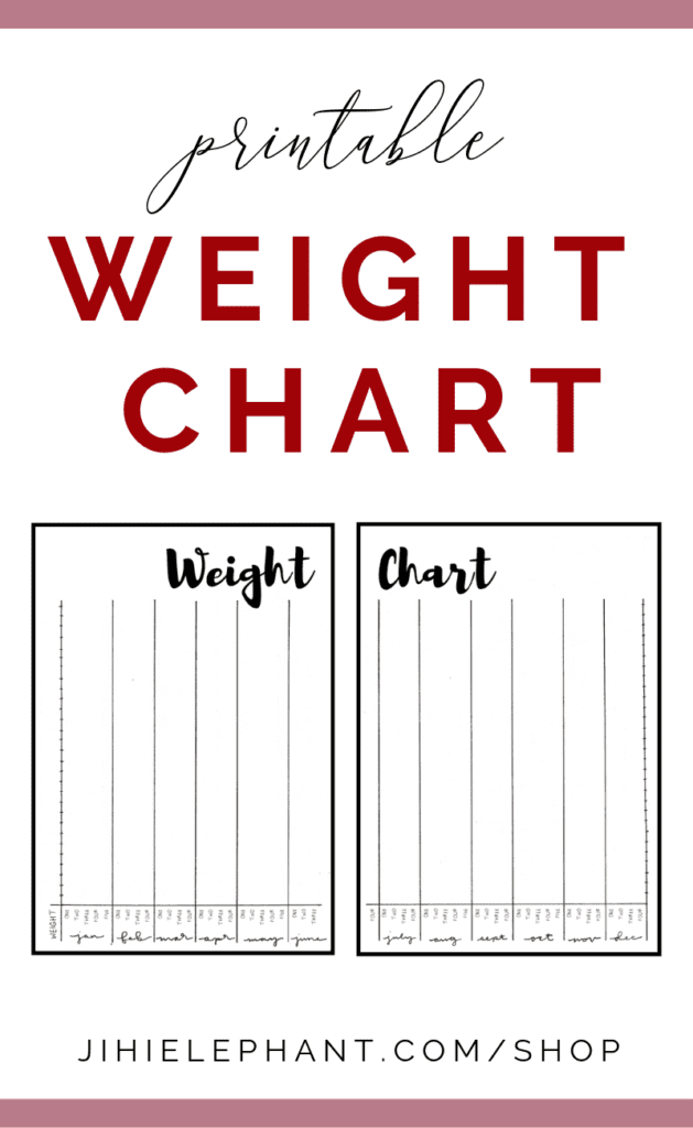 Printable Weight Chart Bullet Journal Inspired Layout | A5 Size | Download