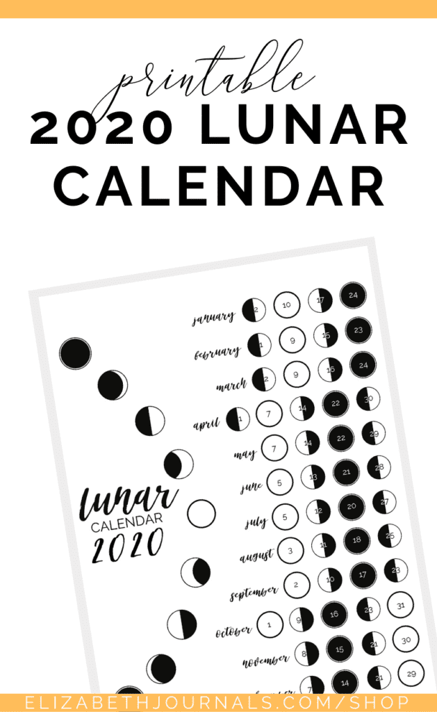 These lunar calendars displays the 2019 or 2020 lunar cycle in an aesthetic fashion showing the 4 moon phases for January through December including dates.
