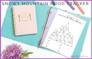 This snowy mountain mood tracker is a one-page tracker. The different sections of the mountains can be colored in to depict each days mood. The mood key is located at the bottom of the page where there are six different moods. If you love winter or mountains and want to track your moods, this bullet journal layout is perfect for you! This printable is great for any person wishing to add some flair to their planner.