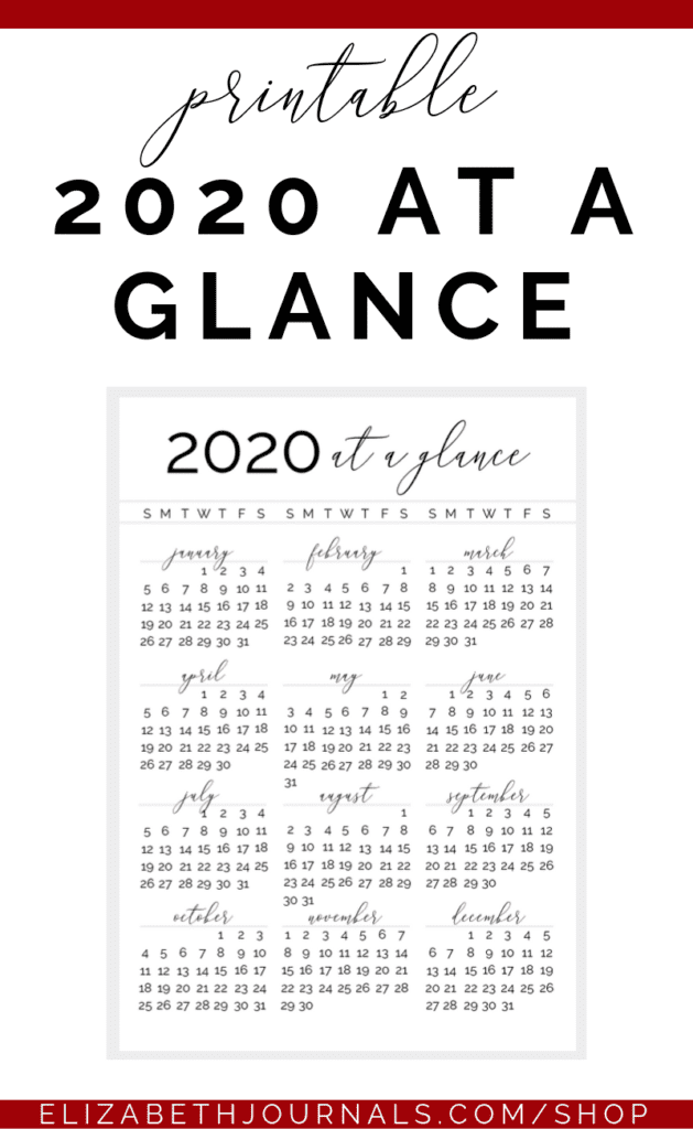 The 2020 at a glance includes two options, either your weeks can begin on Sunday or they can begin on Monday. You get 1 PNG download to use immediately!