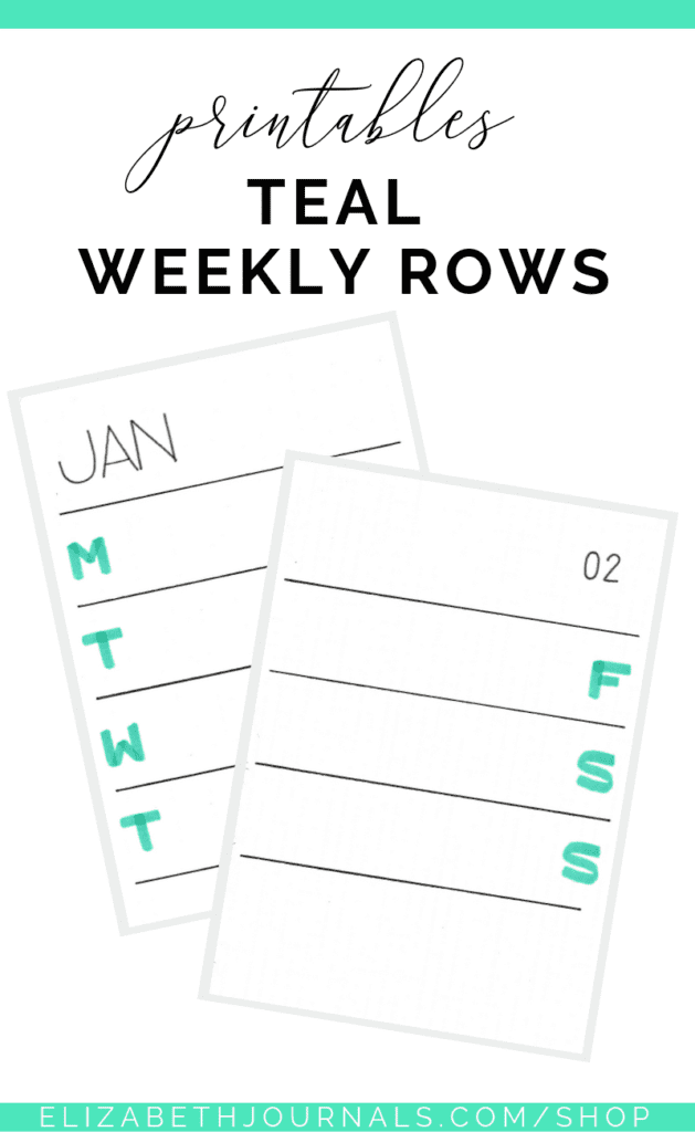 This teal weekly rows includes 17 total PDF files, 12 months and 5 weeks. This printable is great for simple and functional daily planning...