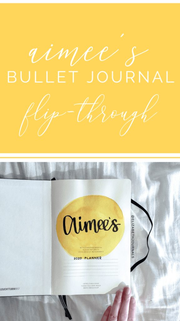 For Aimee's planner, the primary color is a golden yellow. The layouts involved include a title page, future log, monthly calendar, monthly finances...
