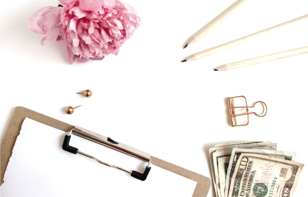 money clipboard flower pencil stationery